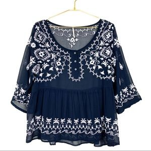 Free People Pennies Sequel Blue Embroidered Blouse
